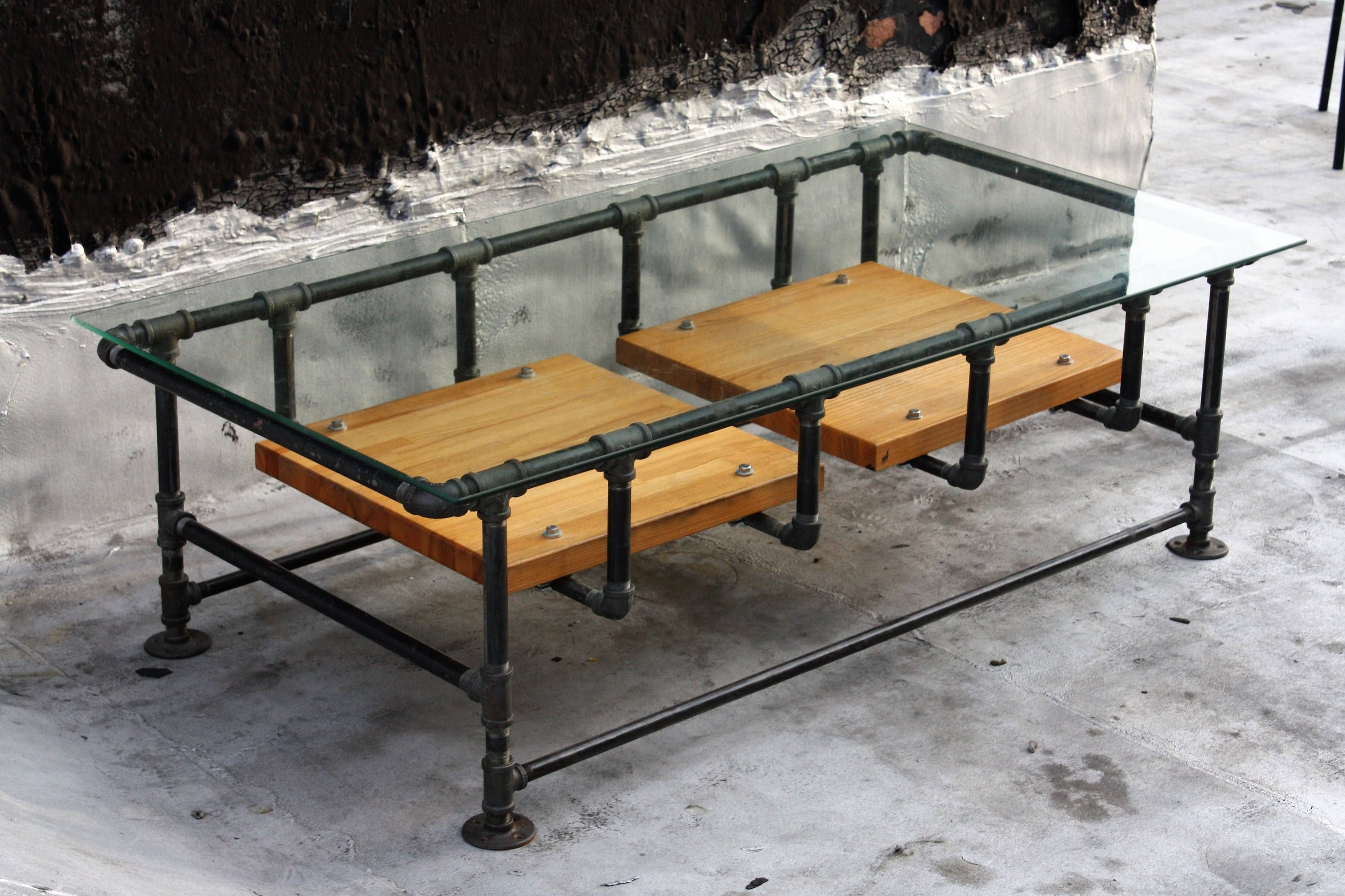 Well Known Pine Metal Tube Coffee Tables Intended For Industrial Iron Pipe Coffee Table W (View 10 of 20)