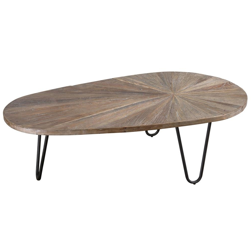 Well Known Reclaimed Elm Cast Iron Coffee Tables Pertaining To Canter Mid Century Recycled Elm Mosaic Iron Hairpin Coffee Table (View 17 of 20)