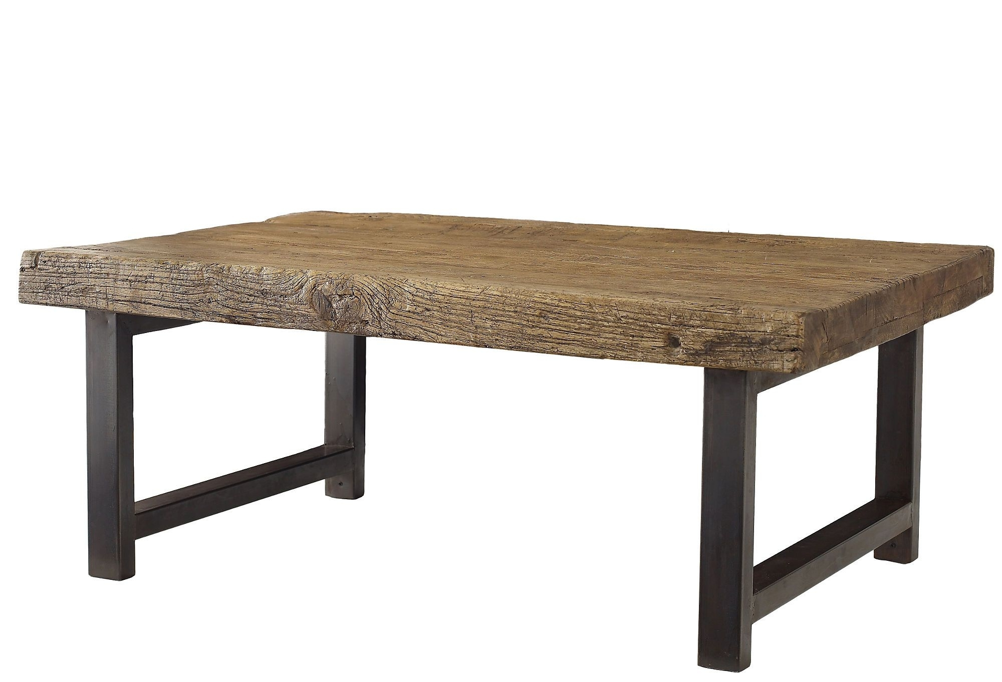 Well Known Reclaimed Elm Iron Coffee Tables Regarding Weathered To Rustic Perfection, This Reclaimed Elm And Steel Table (View 9 of 20)