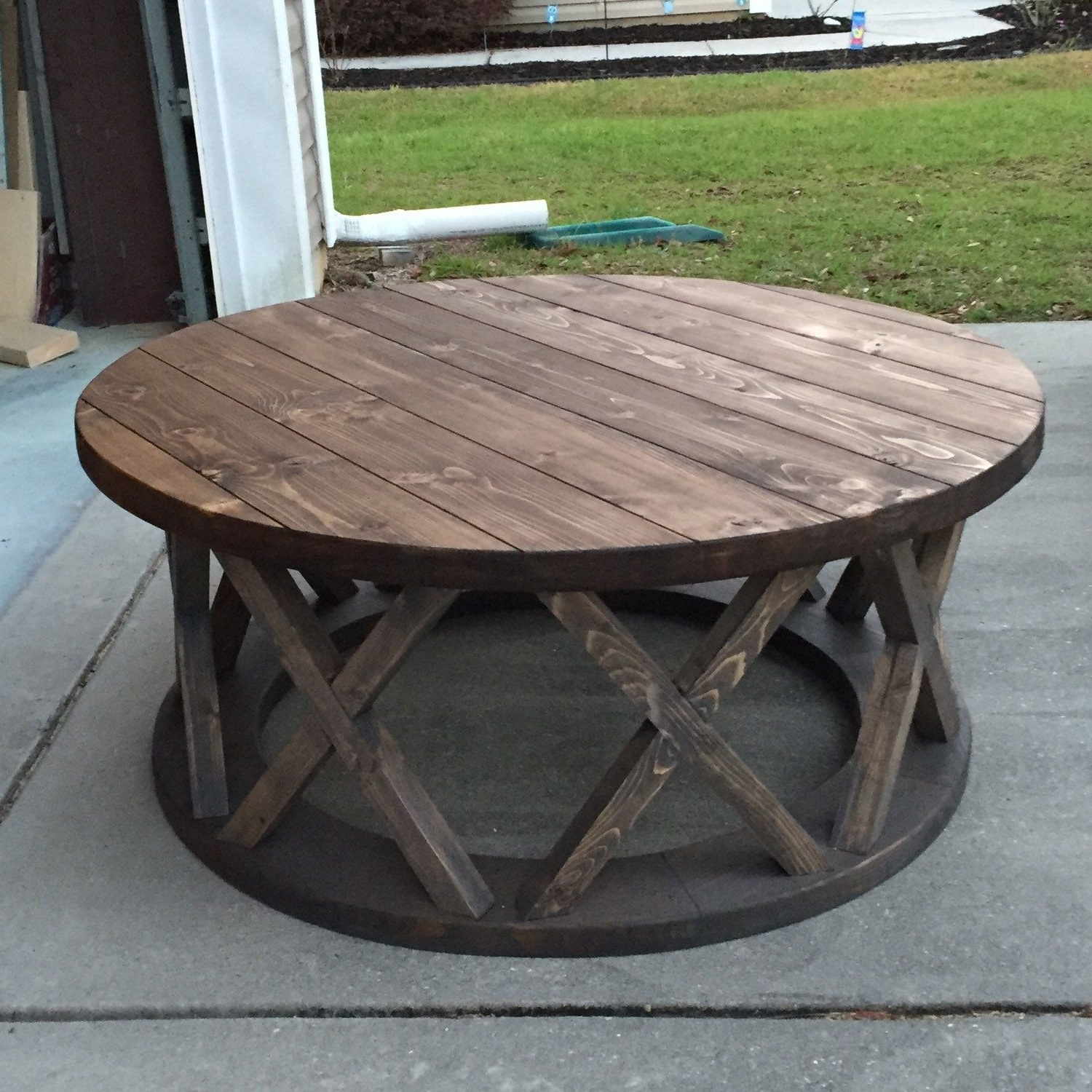 """Well Known Swell Round Coffee Tables For Custom Built 42"""" Round X Brace Farmhouse Coffee Table (View 8 of 20)"""