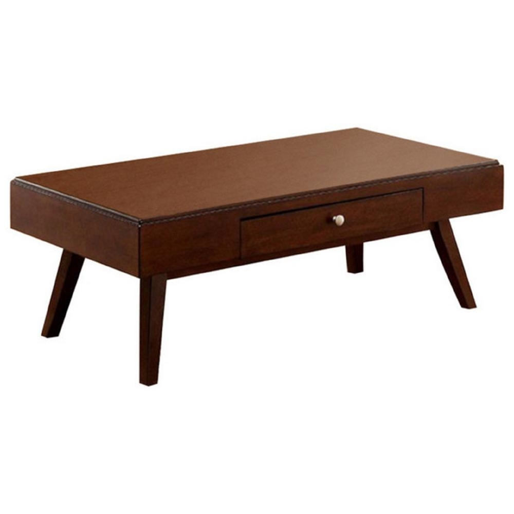 Well Known Tahoe Ii Cocktail Tables Throughout Kinley Brown Cherry Midcentury Modern Coffee Table With Drawer (View 8 of 20)