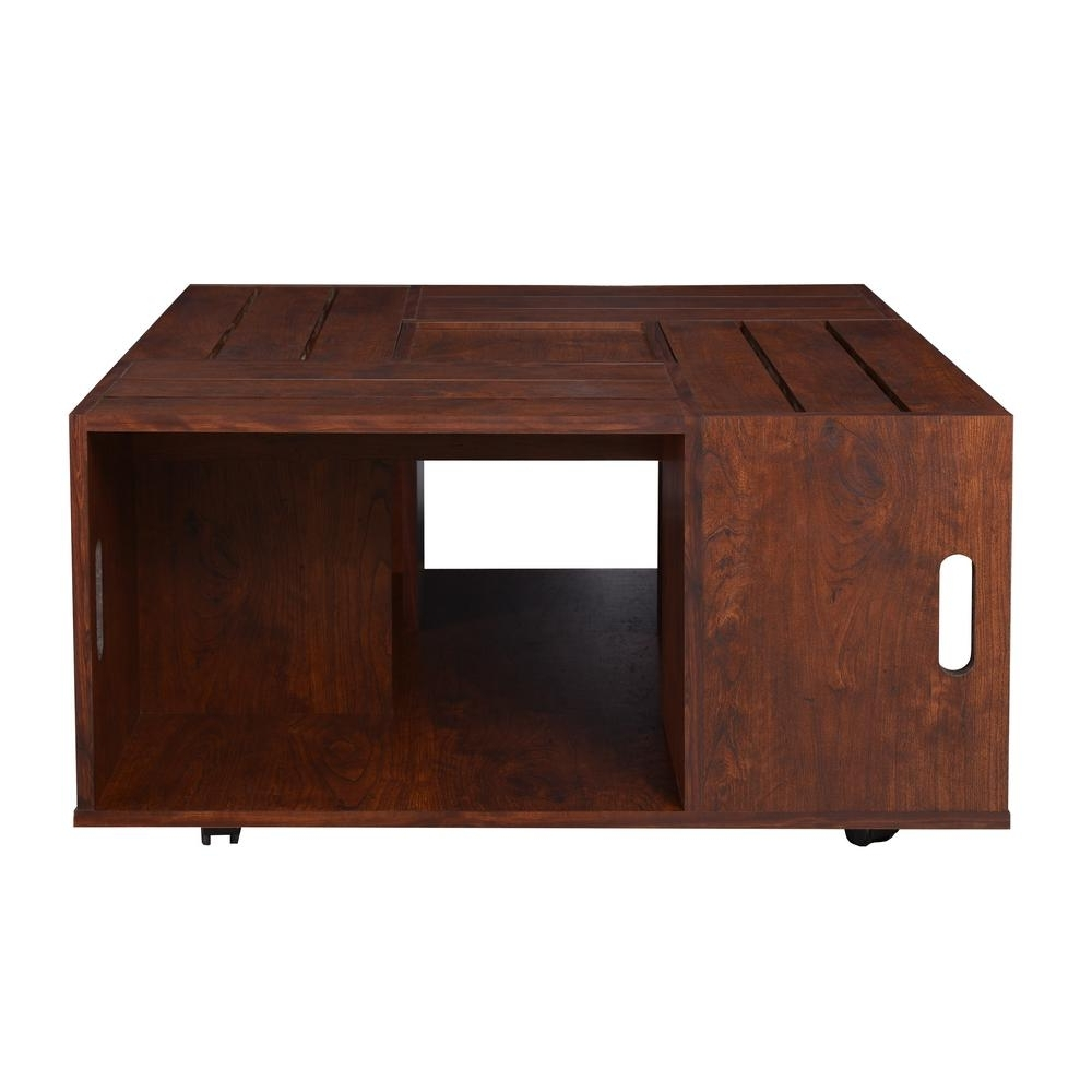 Well Known Vintage Wood Coffee Tables With Furniture Of America Alba Vintage Walnut Crate Coffee Table Ynj  (View 18 of 20)