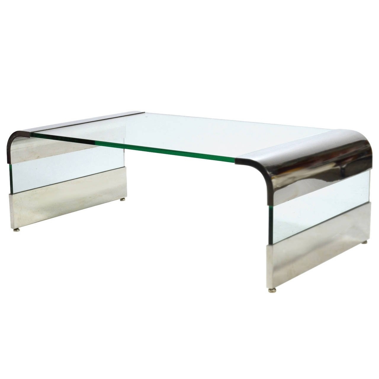 Well Known Waterfall Coffee Tables Throughout Leon Rosen Chrome And Glass Waterfall Coffee Tablepace For Sale (View 18 of 20)