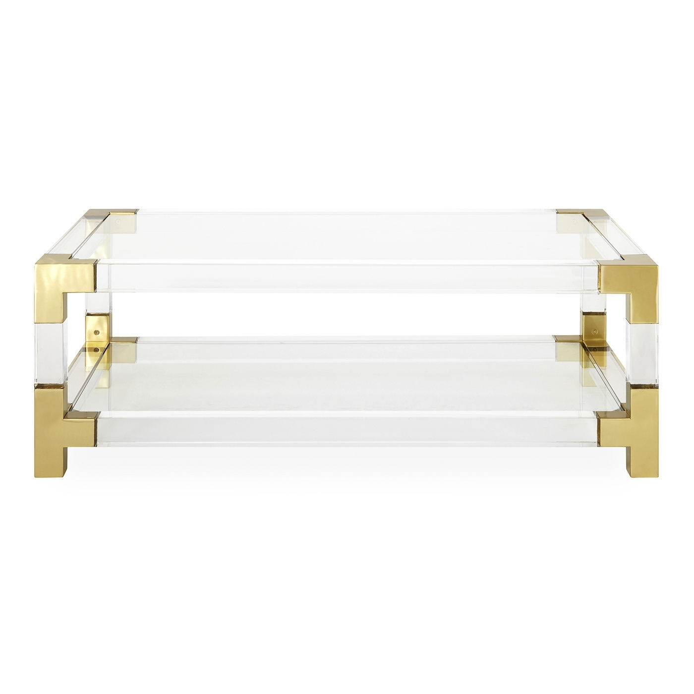 Well Liked Acrylic & Brushed Brass Coffee Tables With Regard To Contemporary Coffee Table / Glass / Brushed Brass / Acrylic (View 11 of 20)