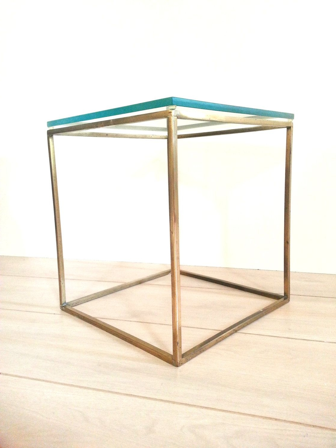 Well Liked Brass Iron Cube Tables With Regard To Mid Century Brass / Glass Cube Table ~ Side Table ~ End Table ~plant (View 4 of 20)