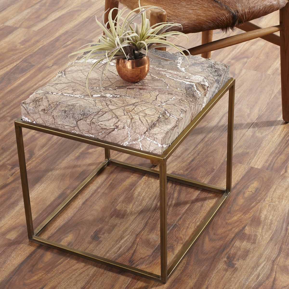 Well Liked Jackson Marble Side Tables Throughout Iron Table With Chiseled Marble Stone Top (View 13 of 20)