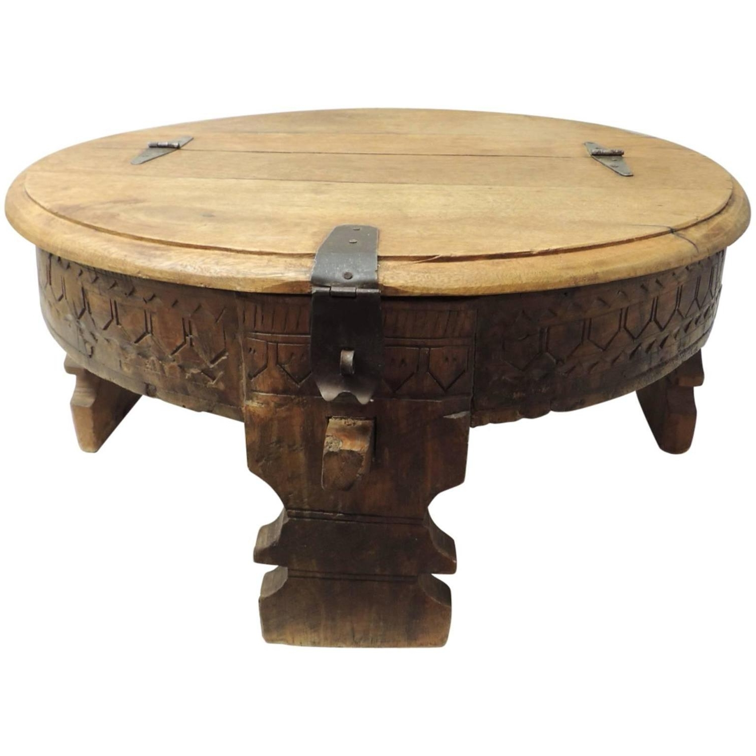 Well Liked Round Carved Wood Coffee Tables In Moroccan Carved Round Coffee Table At 1stdibs (View 6 of 20)