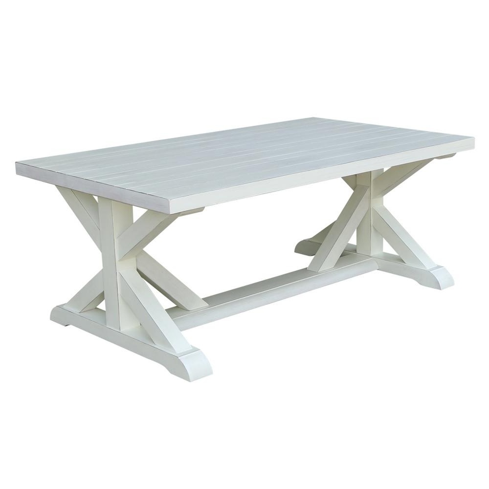 Well Liked Stately Acrylic Coffee Tables For International Concepts Distressed Ivory Plank Top Coffee Table Ot (View 15 of 20)