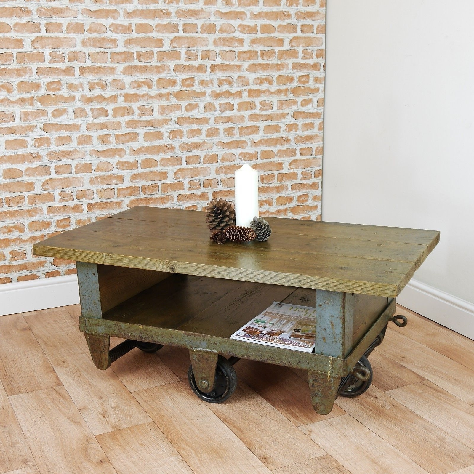Well Liked Waxed Metal Coffee Tables In Vintage Industrial Trolley Coffee Table Upcycled Cart Reclaimed (View 6 of 20)
