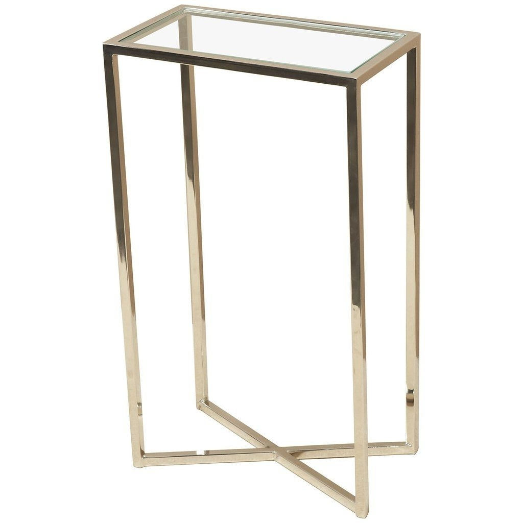 Well Liked Zander Cocktail Tables For Interlude Home Zander Rectangular Polished Nickel Drink Table (View 17 of 20)