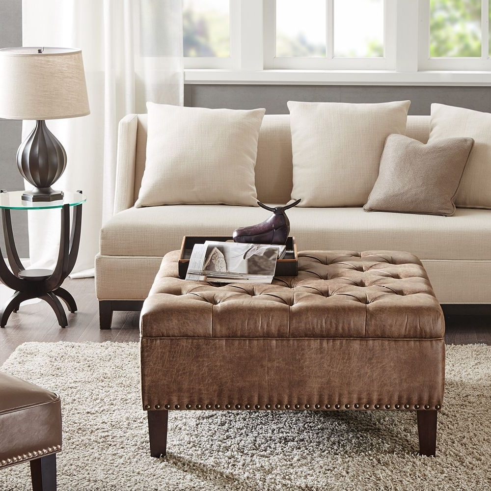 Widely Used Button Tufted Coffee Tables With Button Tufted Faux Leather Square Ottoman Cocktail Table Nail Head (View 9 of 20)