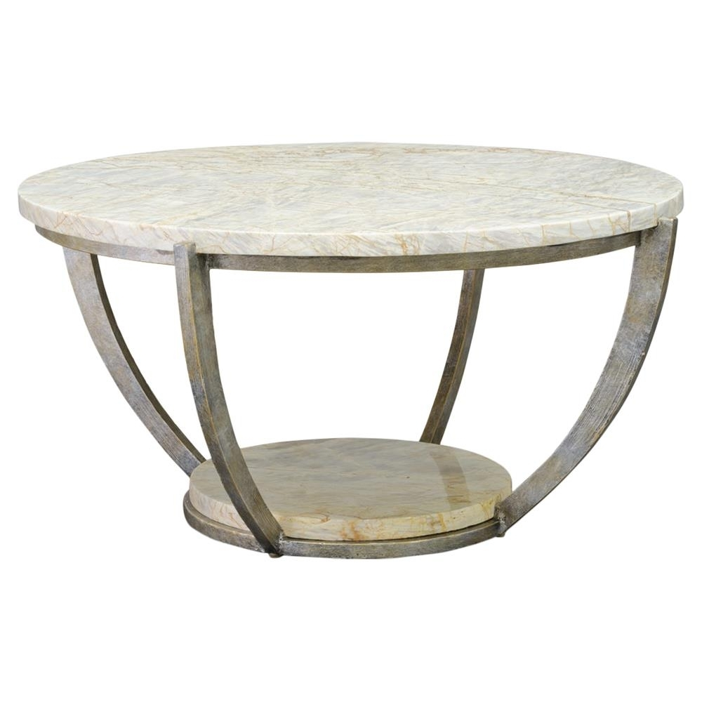 Widely Used Iron Marble Coffee Tables For Palecek Brandt Regency Curved Iron Natural Marble Coffee Table (View 9 of 20)