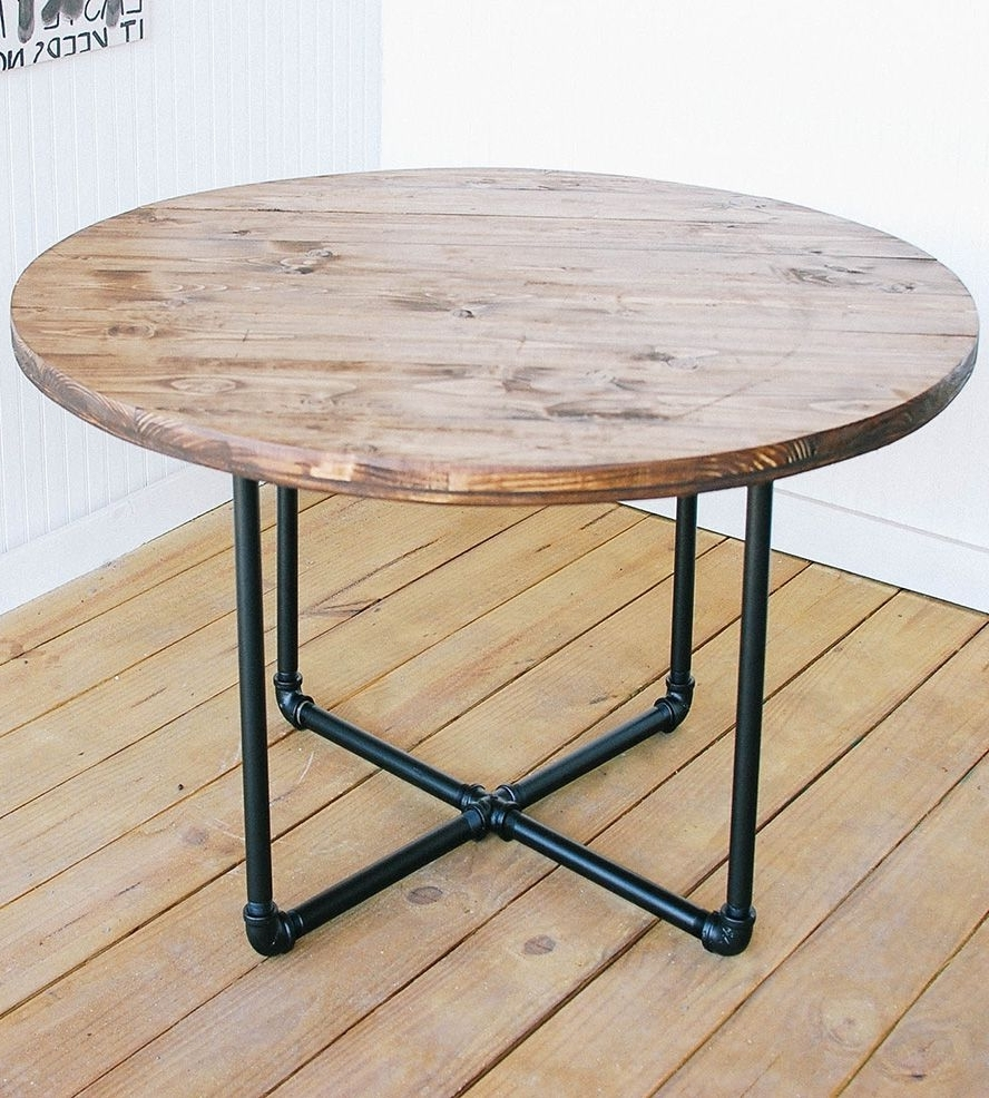 Widely Used Pine Metal Tube Coffee Tables With Regard To Reclaimed Wood Round Coffee Table With Pipe Basesouthern (View 20 of 20)