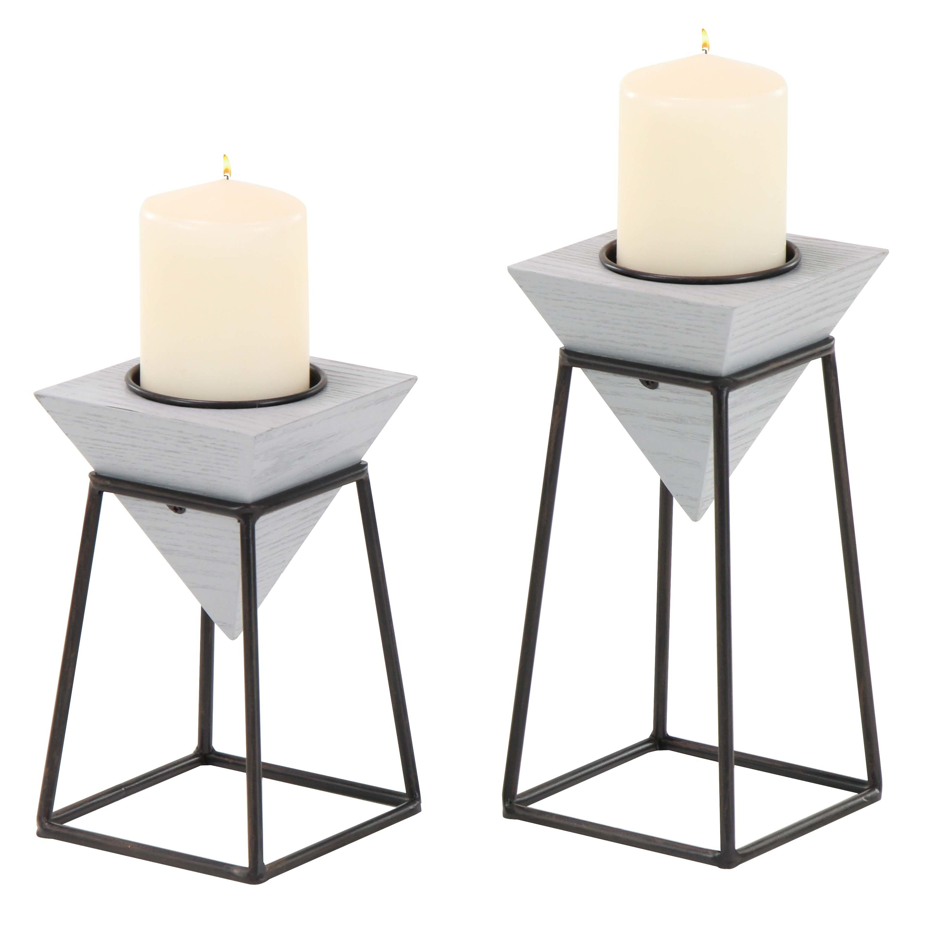 Williston Forge Modern Inverted Pyramid 2 Piece Candlestick Set With For Well Known Inverted Triangle Coffee Tables (View 13 of 20)