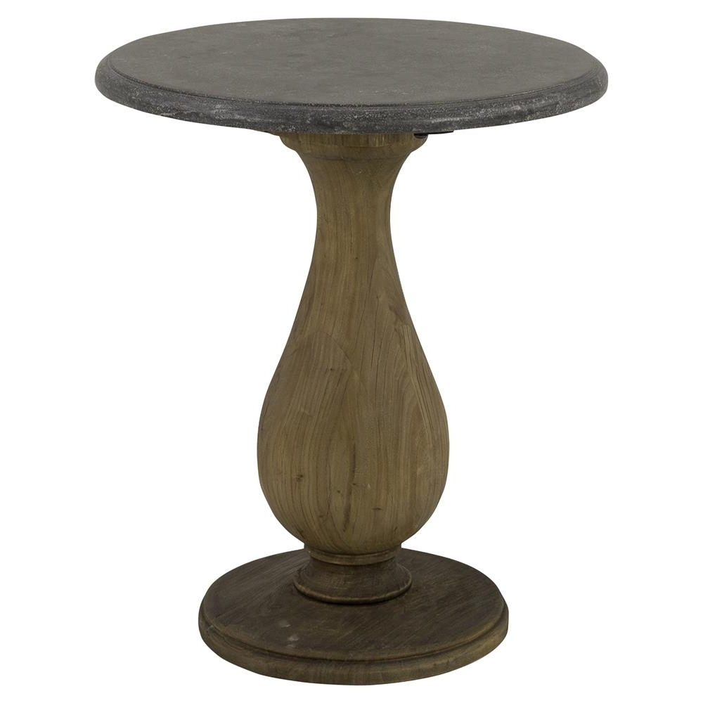 Willow Rustic Lodge Elm Bluestone Top Round Side End Table (View 20 of 20)