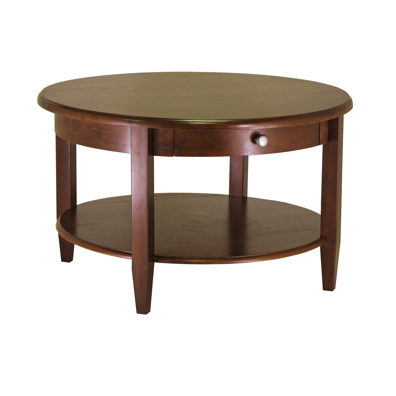 Winsome Wood Concord Round Coffee Table, Walnut Finish – Walmart Pertaining To Current Walnut Finish 6 Drawer Coffee Tables (View 20 of 20)