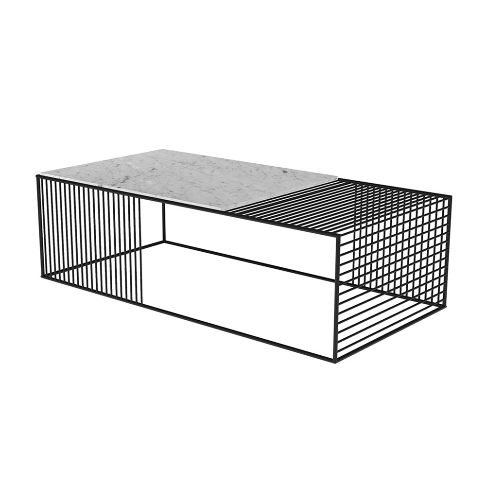 Wire Coffee Table – White Marble, Black – Rouse Home Within Best And Newest Black Wire Coffee Tables (View 7 of 20)