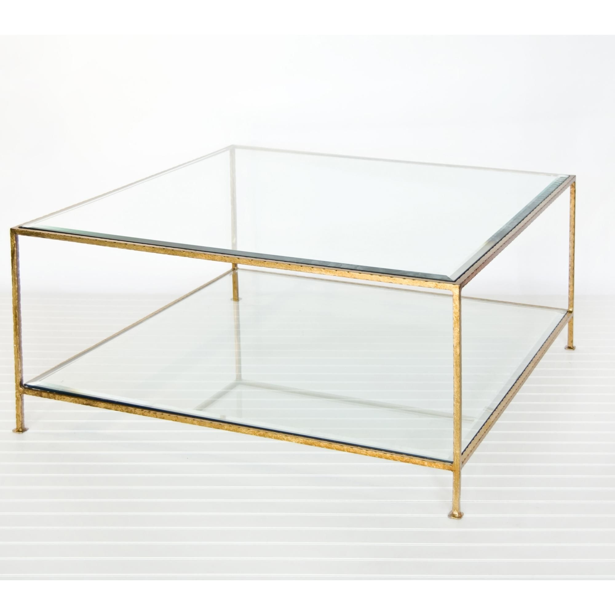 Worlds Away Quadro Square Coffee Table With Beveled Glass – Hammered Inside Most Recent Rectangular Brass Finish And Glass Coffee Tables (View 11 of 20)