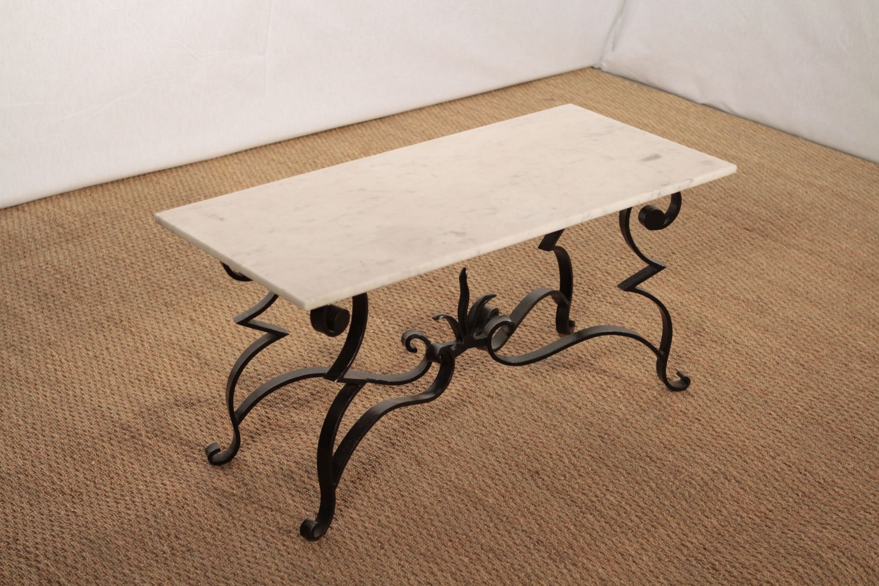 Wrought Iron And Marble Coffee Table For Sale At Pamono Regarding Current Iron Marble Coffee Tables (View 20 of 20)