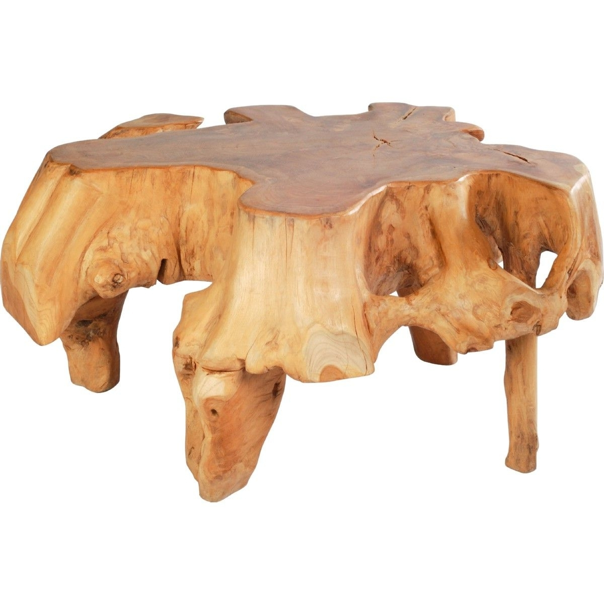 Zuo Modern Broll Coffee Table Organic Shape Teak Acrylic Gold Inside Widely Used Broll Coffee Tables (View 3 of 20)