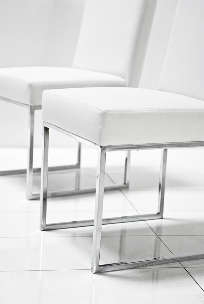 "007 Dining Chair In White Leather 18"" Length X 20"" Width/depth X 34 Within Well Known White Leather Dining Room Chairs (View 16 of 20)"