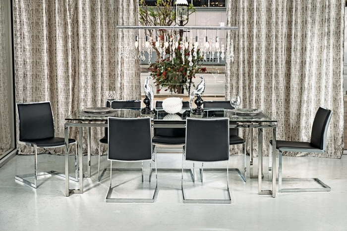 10. Tessa Dining Table Mono Chrome Modern Dining Room Intended For Latest Chrome Dining Room Sets (Gallery 10 of 20)