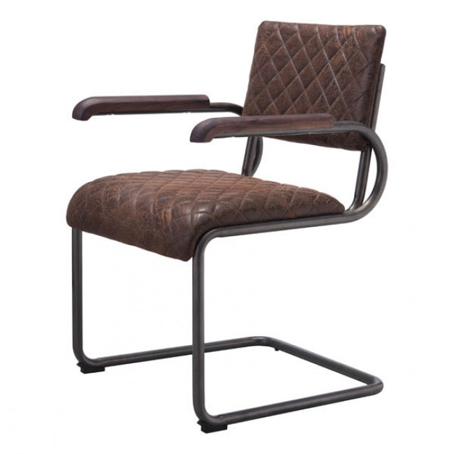 100404 – Father Dining Arm Chair Vintage Brown Throughout Current Quilted Brown Dining Chairs (View 15 of 20)
