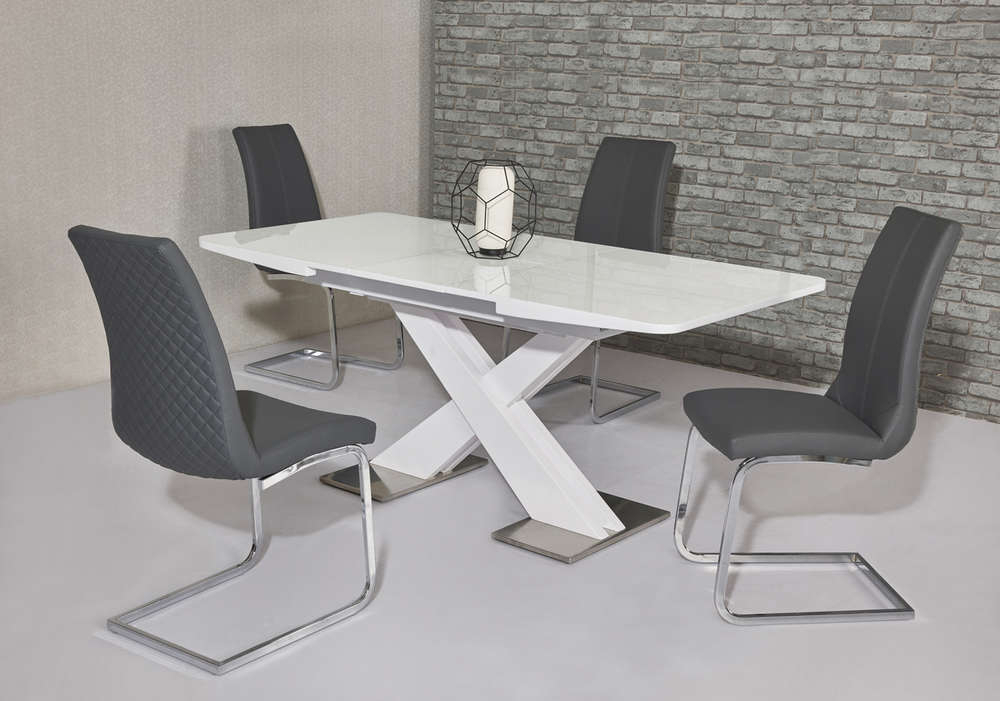 120cm White High Gloss Dining Table & 4 Grey Chairs – Homegenies Inside Widely Used White Gloss Dining Tables 120cm (View 7 of 20)