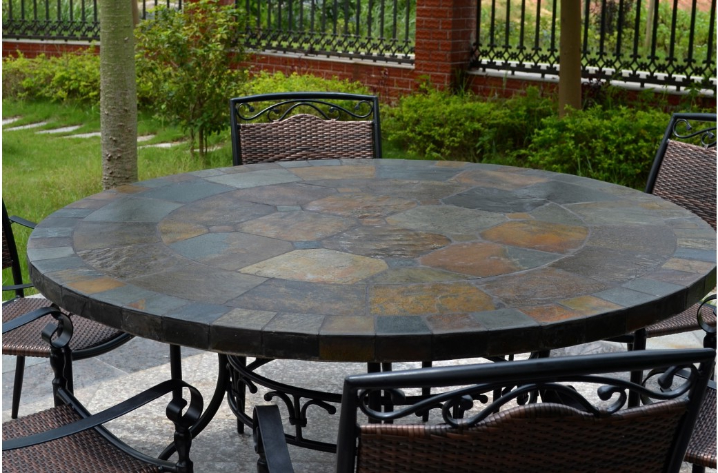 125 160Cm Round Slate Patio Dining Table Tiled Mosaic – Oceane Intended For Well Liked Garden Dining Tables (View 1 of 20)