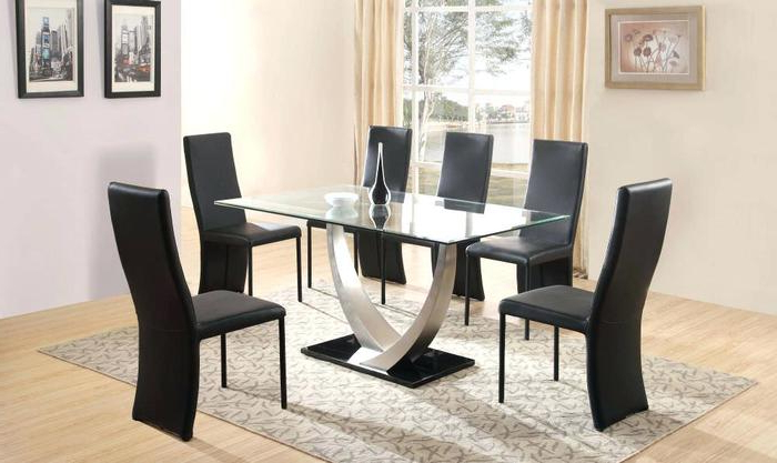 17. Dining Room Tables For 6 Glass Dining Table And 6 Chairs Dining Regarding Best And Newest Glass Dining Tables 6 Chairs (Gallery 3 of 20)