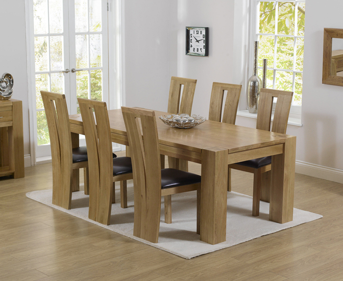 17. Solid Oak Dining Table And 6 Chairs Oak Table And Chairs Ebay For Fashionable Oak Dining Set 6 Chairs (Gallery 6 of 20)