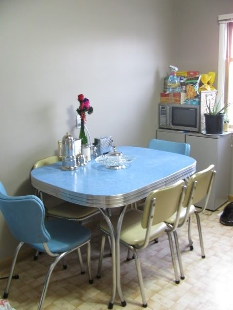 1950S Chrome Dining Set In Blue And Cream – We Grew Up With A Pink Inside Popular Chrome Dining Sets (Gallery 5 of 20)
