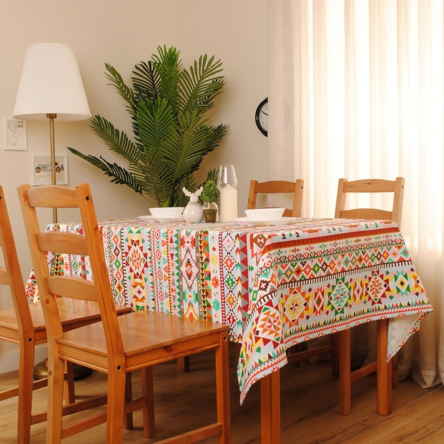 1Pcs New Arrival Indian Style Square Table Cloth Cotton+Linen Dinner Regarding Well Liked Indian Style Dining Tables (Gallery 14 of 20)