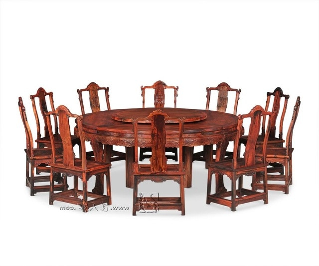 2.1M Round Table And 10 Chair Furniture Set Rosewood Dining Big Desk With Most Popular Dining Table And 10 Chairs (Gallery 17 of 20)
