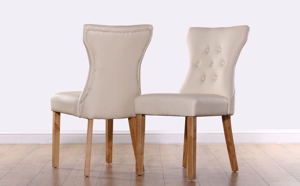 2 4 6 8 Bewley Ivory Leather Dining Room Chairs Oak Leg (Gallery 17 of 20)