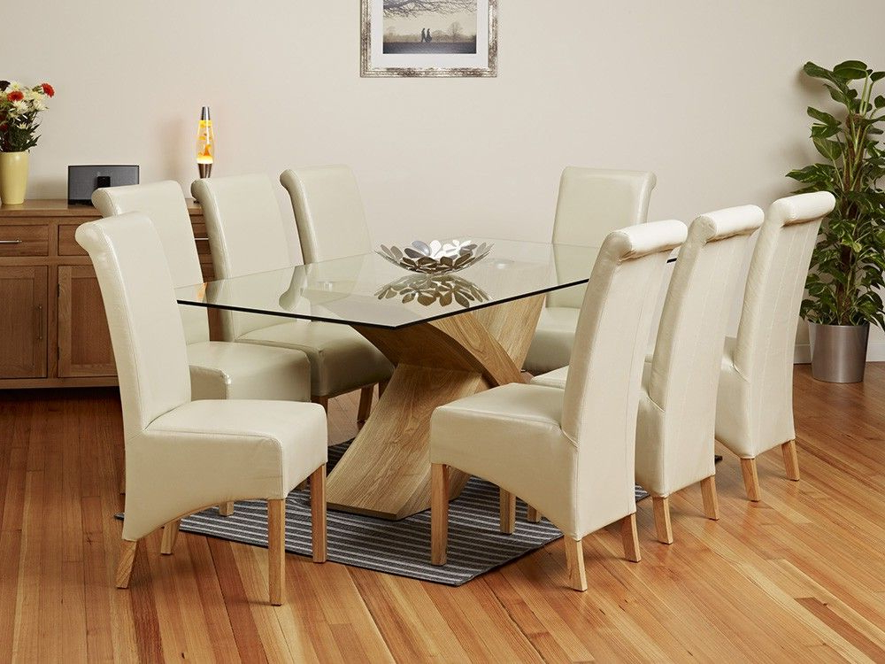 2 Metre Glass Top Dining Table Set – 1home – Glass Dining Table Within Widely Used Glass Top Oak Dining Tables (View 11 of 20)
