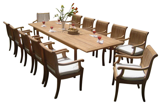 "2017 13 Piece Outdoor Teak Dining Set, 117"" Rectangle Table, 12 Giva Arm Throughout Craftsman 7 Piece Rectangular Extension Dining Sets With Arm & Uph Side Chairs (View 1 of 20)"