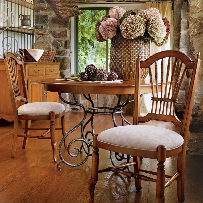 """2017 46"""" Small Brittany Dining Table With Wrought Iron Base Ethan Allen With Regard To Brittany Dining Tables (View 15 of 20)"""