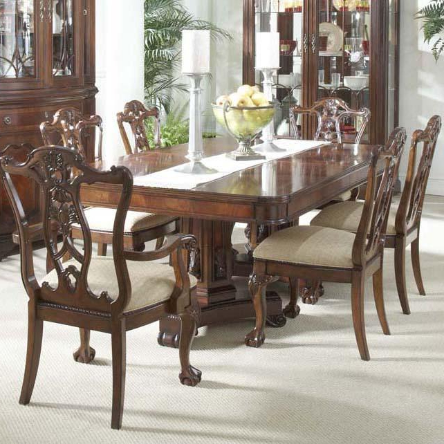 2017 7 Piece Dining Room Set With Elegant Double Pedestal Table And Ball For Parquet 7 Piece Dining Sets (View 11 of 20)