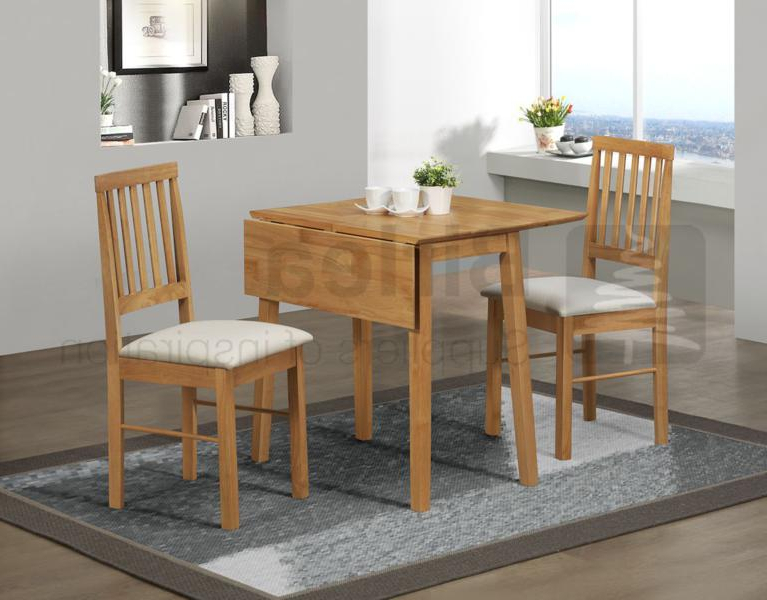 2017 Birlea Drop Leaf Table And Two Chairs In Oak Finish £179, Beds Inside Two Chair Dining Tables (Gallery 2 of 20)
