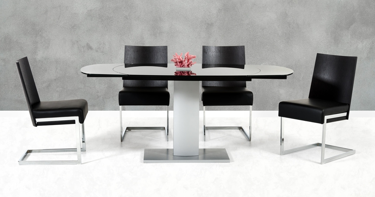 2017 Black Extendable Dining Tables And Chairs In Modrest Obsidian Modern Black And Silver Extendable Dining Table (View 16 of 20)