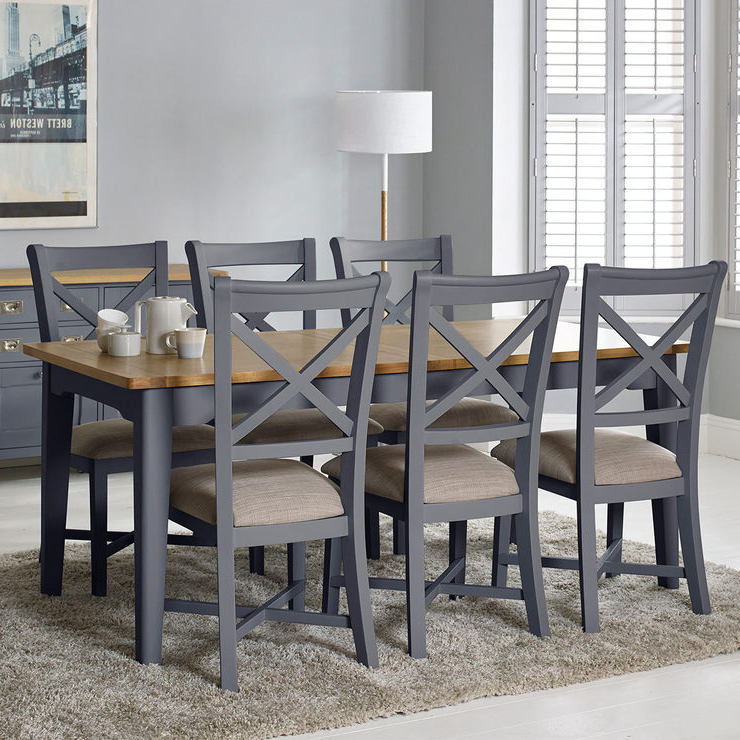2017 Bordeaux Painted Taupe Large Extending Dining Table + 6 Chairs With Regard To Extending Dining Tables With 6 Chairs (View 4 of 20)