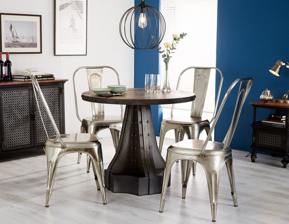2017 Buy Indian Hub Evoke Iron And Wooden 90Cm Dining Set – Industrial Pertaining To Indian Dining Tables And Chairs (Gallery 18 of 20)