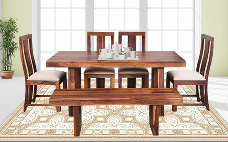 2017 Buy Royaloak Crystal 6 Seater Sheesham Wood Dining Set With Bench Regarding Crystal Dining Tables (View 1 of 20)