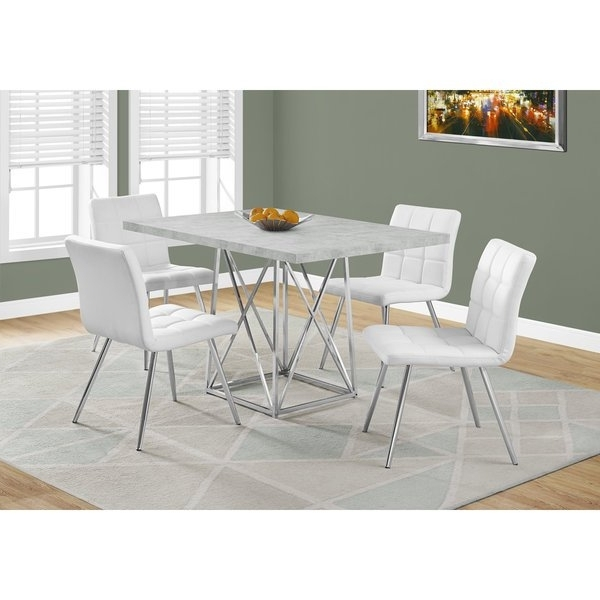 2017 Chrome Dining Room Sets Intended For Shop Grey Cement And Chrome Dining Table – Free Shipping Today (View 3 of 20)