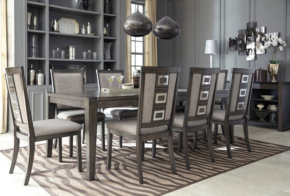 2017 Craftsman 9 Piece Extension Dining Sets With Uph Side Chairs In Ashley Furniture Chadoni 9 Piece Smokey Grey Dining Room Set D (View 3 of 20)
