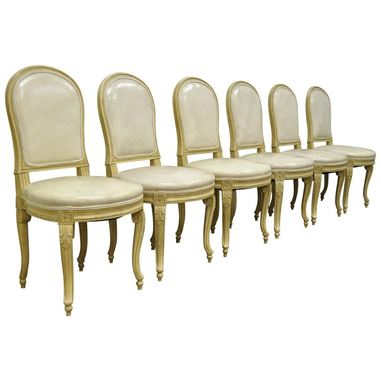 2017 Cream Leather Dining Chairs Regarding Set Of 6 French Louis Xv Style Carved And Painted Cream Leather (View 2 of 20)