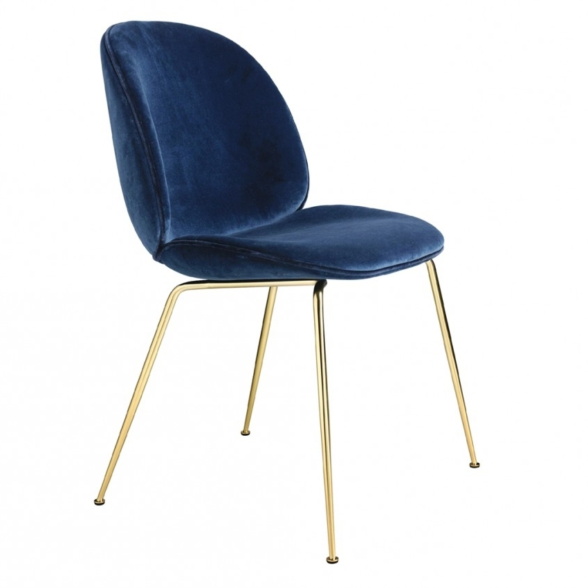 2017 Dark Olive Velvet Iron Dining Chairs In Beetle Dining Chair Navy Velvet With Brass Legs – The Conran Shop (View 1 of 20)