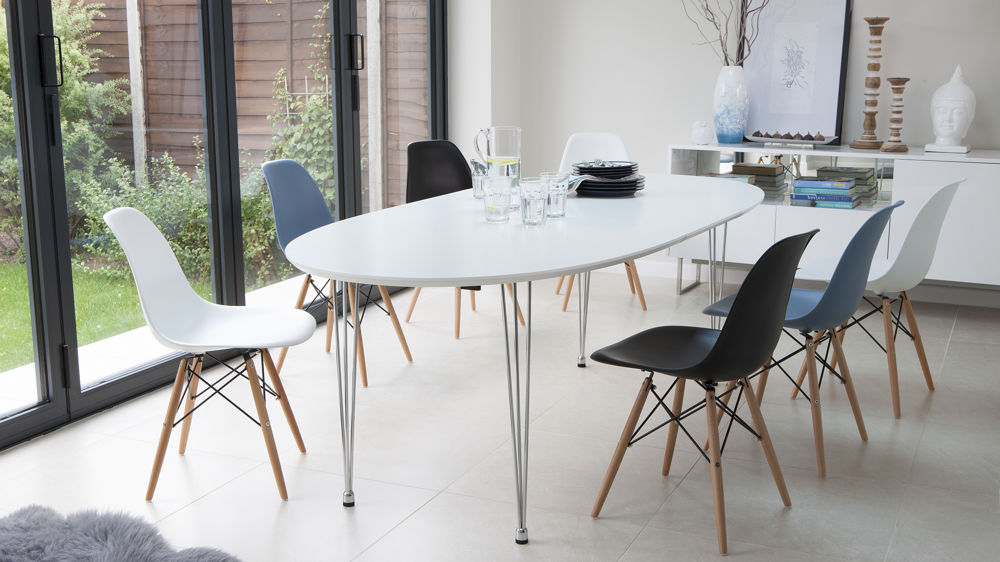 2017 Ellie Oval Extending And Eames Style Dining Set For White Oval Extending Dining Tables (Gallery 3 of 20)