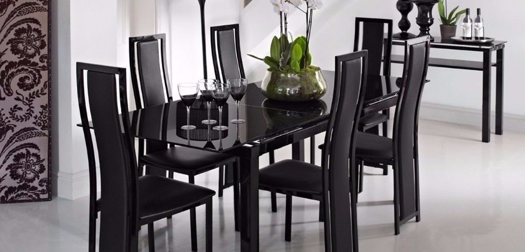 2017 Extending Black Glass Dining Table And 6 Chairs ( Noir Range From In Black Glass Dining Tables And 6 Chairs (View 7 of 20)